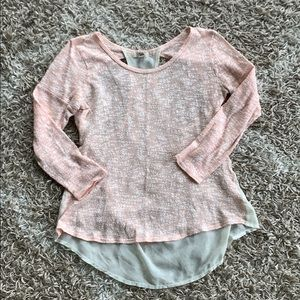 Sheer-back and peach bouclé sweater from YA sz L